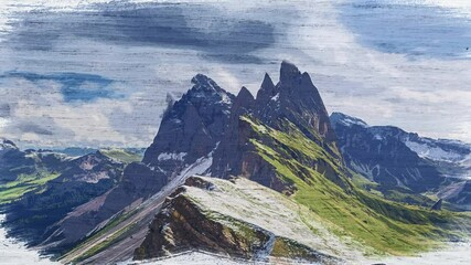 Wall Mural - Watercolor timelapse of Seceda in South Tyrol, Dolomites
