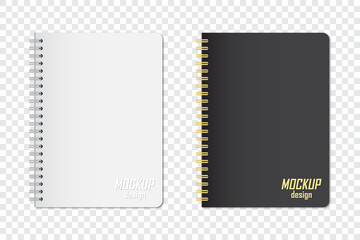 Mock up of notebook in two colors with shadow on a transparent background