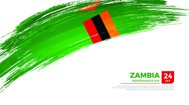 Flag of Zambia country. Happy Independence day of Zambia background with grunge brush flag illustration