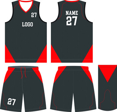 Custom Design Basketball uniform mockups templates design for basketball club t-shirt mockup for basketball jersey. Front view, back view and side view basketball shirt and shorts vector