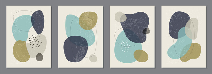 Set of minimal posters with abstract organic shapes composition in trendy contemporary collage style