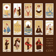Minor Arcana Tarot cards. Cups From Ace to the figures of the Court. JPG High resolution