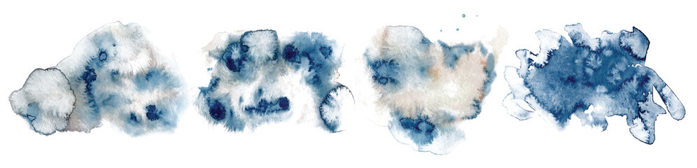 Abstract watercolor classic blue shapes on white background. Color splashing hand drawn vector