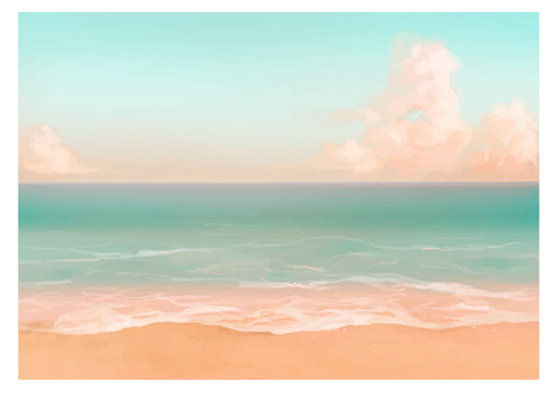 Vector illustration of tropical beach in morning. Hand painted watercolor background.