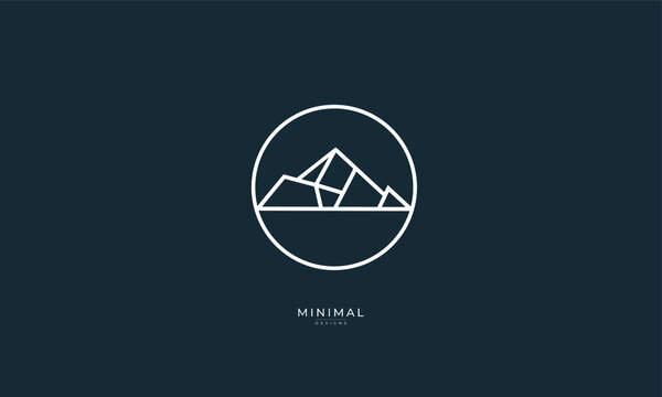 A line art icon logo of a mountain, hill, peak and summit