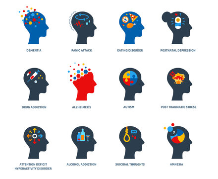 Set of psychological problems concept isolated on white background. Mental disorders, illnesses and psychiatry. Postnatal depression, autism and addictions flat icons. Psychology human head logo