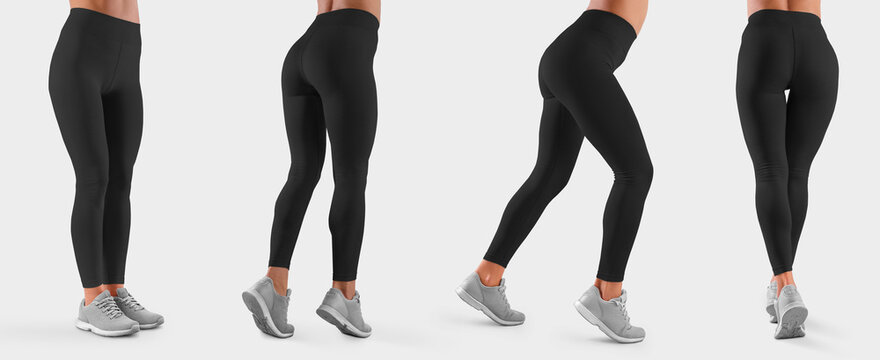Mockup of black leggings on a slim girl, women's sportswear, isolated on background.