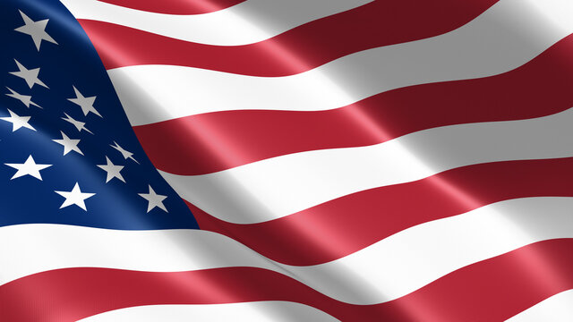 American waving flag closeup. Wonderful shiny flag. Sign of USA, United States of America. US Background. 3D render