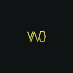 Obraz Unique minimal and creative style golden and black color WO or OW initial based logo - fototapety do salonu