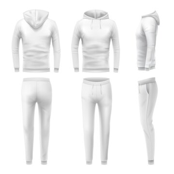 Realistic hoodies and pants mockup. Man sportswear, white hoodie and sweat pant. Male trousers and sweatshirt template. Fashion clothes or tracksuit for active sport training vector illustration set.