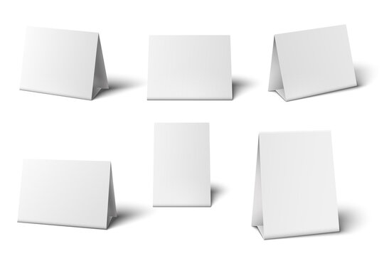 White table card mockup. Desk calendar. Standing blank paper banners for greeting cards restaurant menu 3d isolated template set. Empty realistic table holder object vector illustration.