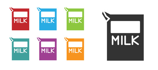 Black Paper package for milk icon isolated on white background. Milk packet sign. Set icons colorful. Vector Illustration.