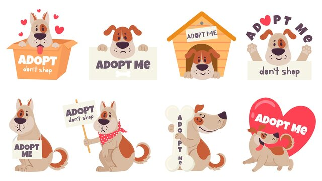 Cartoon adopt dog. Help homeless animals find home concept, sad dogs with text adopt me, dont shop, puppies adoption vector set. Pet in doghouse, cardboard box, holding signboard, heart.