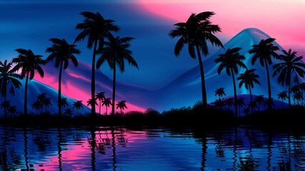 Fotomurales - Night landscape with palm trees, against the backdrop of a neon sunset, stars. Silhouette coconut palm trees on beach at sunset. Vintage tone. Futuristic landscape. Neon palm tree. Tropical sunset.