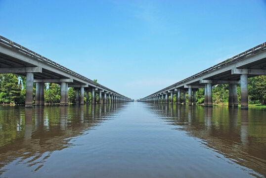 Interstate Ten Bridge Over the Atchafalaya Basin in Southern Louisiana