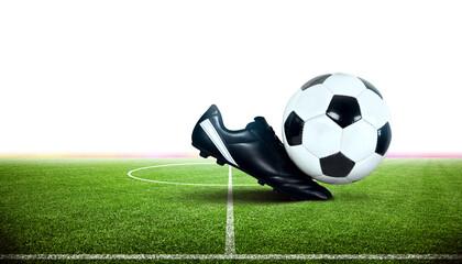 Fussball und Fussballschuh im Stadion Fotoväggar