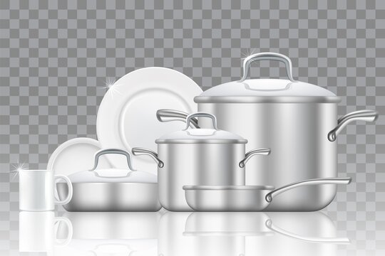 Crockery and cookware realistic vector icon set