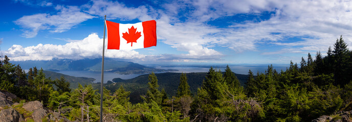 Canadian National Flag Composite. Beautiful Panoramic Landscape view from top of Mt. Gardener Hike with Vancouver City in Background. Located in Bowen Island, British Columbia, Canada.