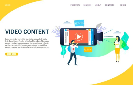 Video content vector website landing page design template