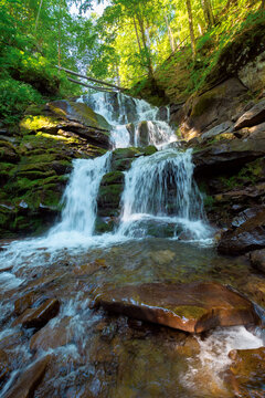 great water fall in the forest. beautiful nature landscape. river among the rocks. fresh summer scenery. Shypot is a popular tourist attraction of pylypets village, transcarpathia region, ukraine