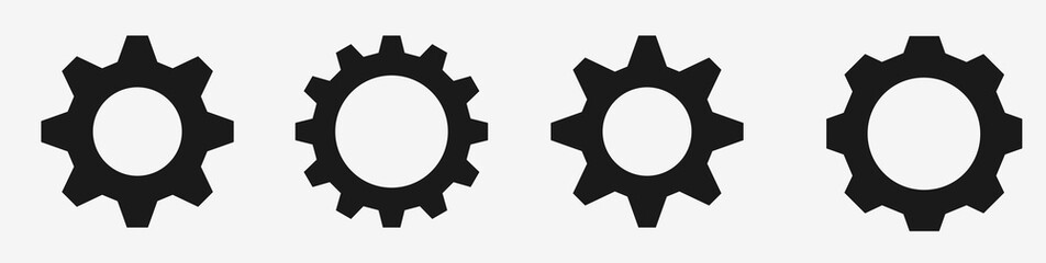 Gear icon set – Black gear and cog wheel on white background – Progress or construction concept– Isolated vector illustration