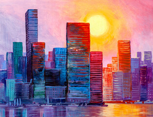 Fotobehang Lichtroze Artistic painting of skyscrapers.Abstract style. Cityscape panorama..