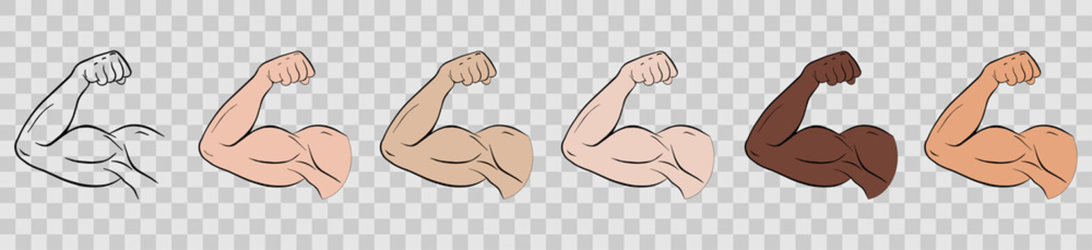 Biceps of a sports person. Body flexion or strong biceps logo. Set of vector icons
