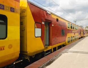 Fototapeta A double decker express train at the Bangalore station