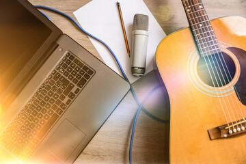 Home recording equipment for music laptop guitar and microphone