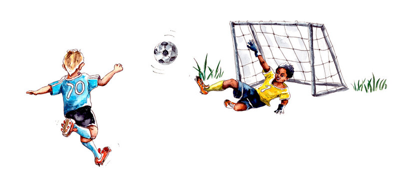 watercolor illustration.children's football. Athlete Football Goalkeeper Blocking The Football World Cup. Football Match People Set Up A Competition. isolated on a white background