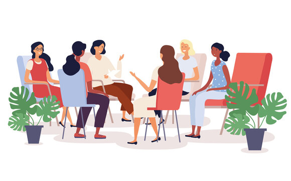 Group therapy session with diverse women seated in a circle having a heart to heart discussion , colored vector illustration