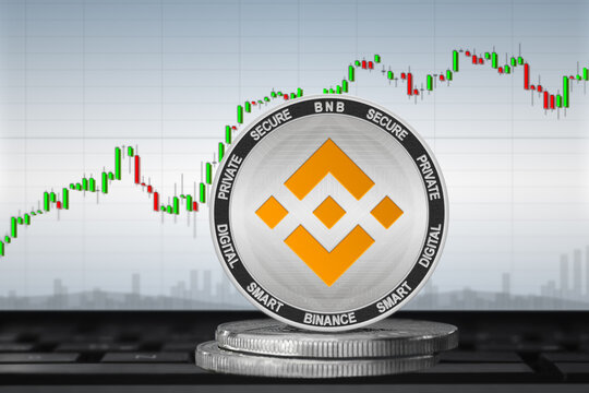 Binance Coin BNB cryptocurrency; Binance coin on the background of the chart