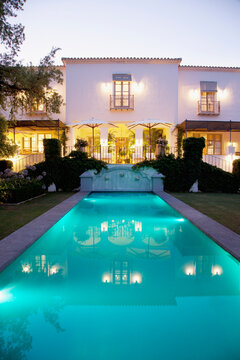 Lap pool and Spanish villa