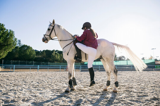 Full length of girl mounting on white horse at ranch during sunny day