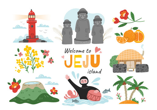 Welcome to Jeju Island, South Korea travel poster design with colorful icons of landmarks, volcano and a diver, colored vector illustration