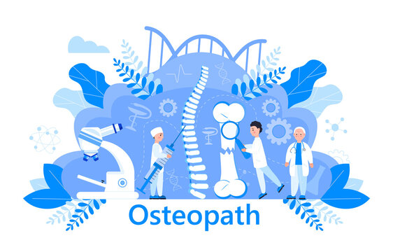 Osteopath vector concept. Osteoporosis world day,. Tiny doctors research osteoarthritis anatomical bones of human. Joint pain, fragility of lower leg are shown. It is for landing page, app