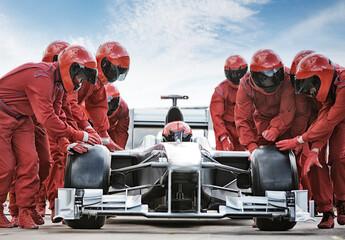 Obraz Racing team working at pit stop - fototapety do salonu
