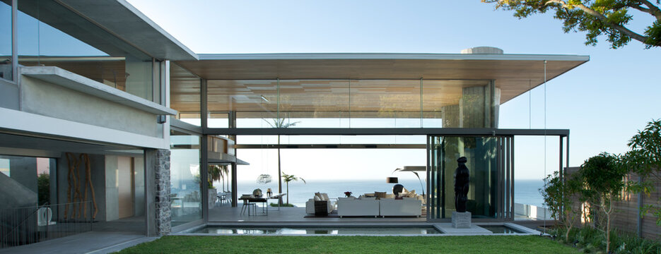 Patio and swimming pool of modern house