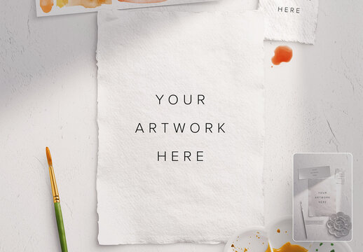 5X7 Handmade Watercolor Paper Scene Mockup with Brush and Paint