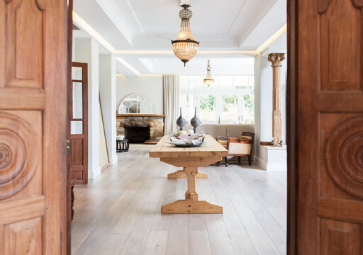 Wooden doors leading to dining room