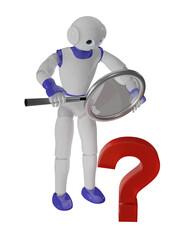niedlicher 3d roboter schaut durch eine Lupe auf ein Fragezeichen.