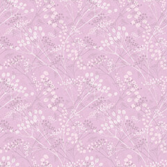 Berries Pattern Seamless Repeat, Lilac, White, Grey - for fabric, wallpaper, product labels, cards, wrapping paper, etc.