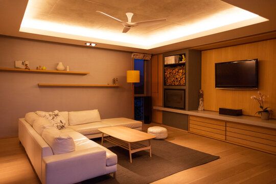 Illuminated tray ceiling over home showcase living room