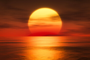 Wall Murals Cuban Red light sunset orange sun calm orange sea with sun through nature horizon over the water with a cloudy sky.