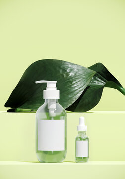 Minimal cosmetic background for product presentation. Cosmetic bottle on green podium with hosta plant. 3d render illustration.