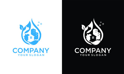Cleaning service logo design idea. Creative Eco symbol template. Building and House. Logo, icon and vector for Cleaning And Maintenance
