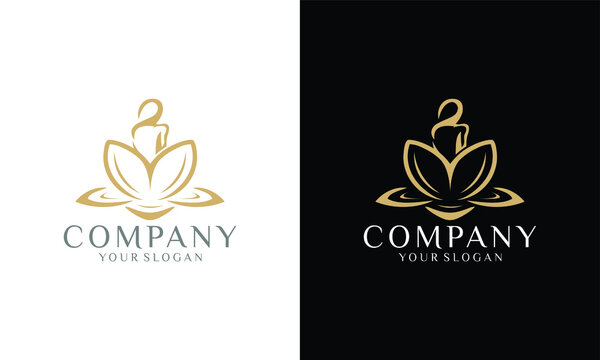 illustration of female logo and Lotus flower, Wellness, Spa, Healing Logo template. yoga logo design stock. human meditation in lotus flower vector illustration in Gold color