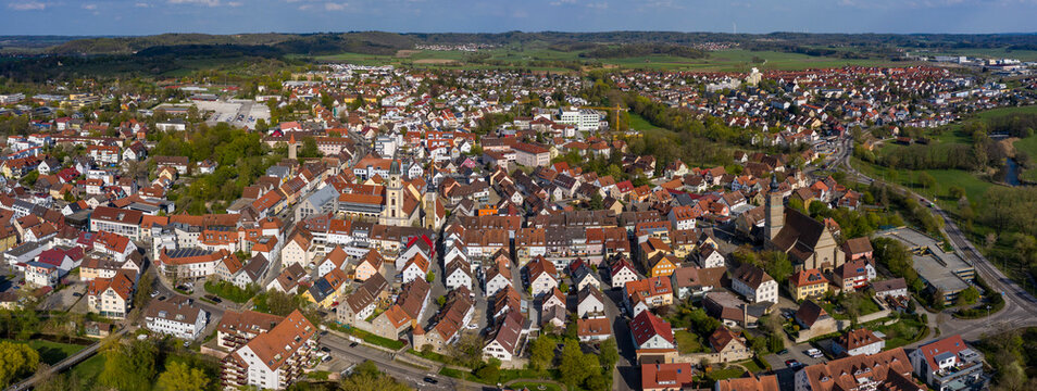 Aerial view of the city Crailsheim in Germany on a sunny spring day during the coronavirus lockdown.