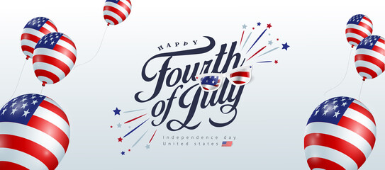 Independence day USA banner template american balloons flag decor.4th of July celebration poster template.fourth of july vector illustration .
