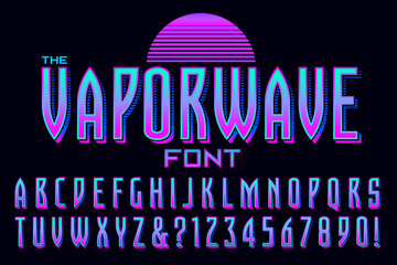 A Condensed Alphabet Design in the Style of Vaporwave Graphics